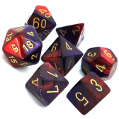 Purple & Red Gemini Polyhedral 7 Dice Set